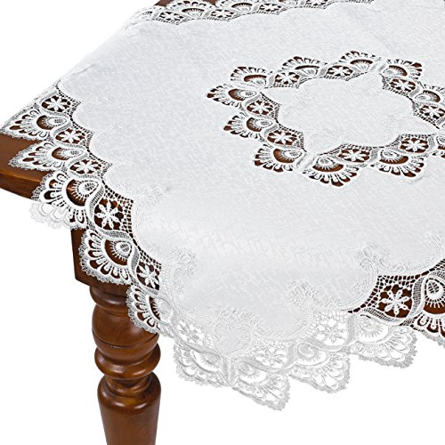 HomeCrate Decorative Handmade Embroidered Lace Table Topper - White, 36'' Square by HomeCrate