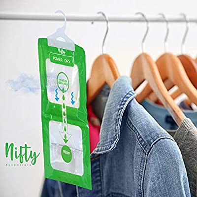 .com - Nifty Essentials Moisture Absorber and Odor Eliminator Hanging Bags to Rid Damp in Closet, Safe, Cars, Wardrobes, Basement, Gym Bag| Humidity Bags for Closet and wardrobes - Pack of 5 (210 GMS Each) -