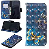 Ostop Samsung Galaxy S9 Plus Wallet Case,3D Cute Printed Pattern Leather Case Kickstand Card Holder Magnetic Flip Folio Cover,Gold Butterfly Navy Blue PU