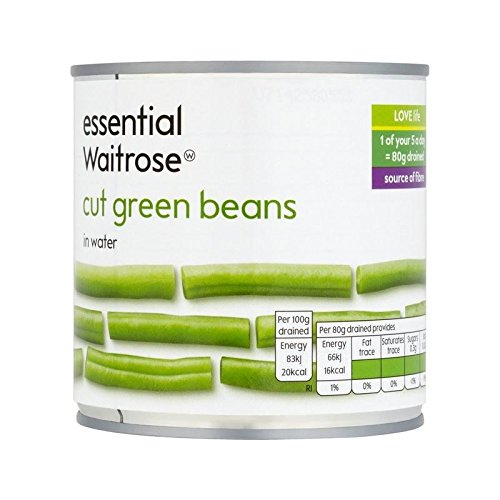 Cut Green Beans essential Waitrose 400g - Pack of 6