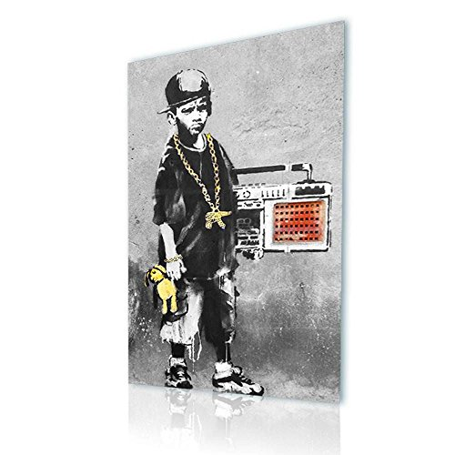 Collage Oil Reproductions (Alonline Art - Boy With Dance Mat Banksy PRINT On CANVAS (Synthetic, UNFRAMED Unmounted) 24