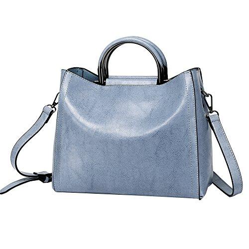 Large Tote Tote Bag Fashion Shoulder Women's Bag Blue Crossbody Leather Retro Bag FLHT vHtPOnE