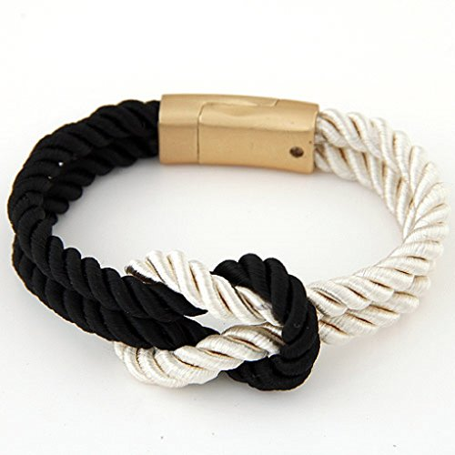 Knot Clasp - The Crafty Owl Rope Knot Bracelets with Magnetic Clasp-5 Colors-Unisex (Beige and Black)
