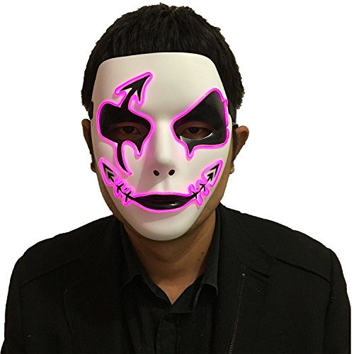 DevilFace Melbourne Shuffle Halloween EL Wire Light Up Mask Masquerades LED Mask, One Size -