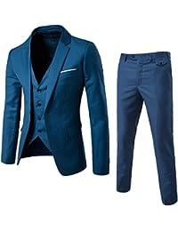 Hombres Traje de moda casual Slim Fit 3-Piece Business chamarra Chaleco & Pantalones
