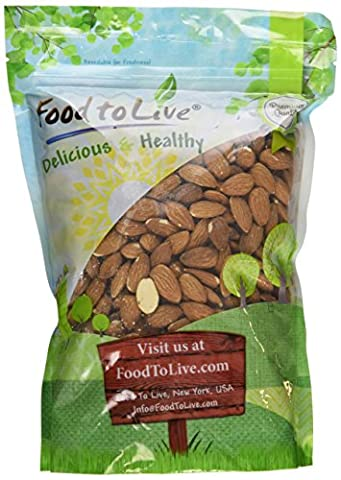 Food To Live Almonds (Whole, Raw, Shelled, Unsalted) (2 Pounds) - Buttery Almond