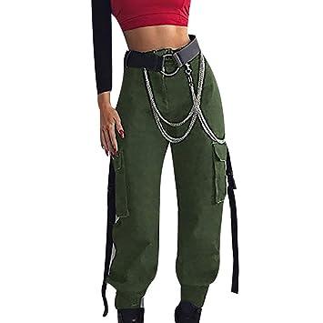 Amazon.com: Pantalones de carga para mujer, cintura alta ...
