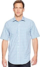 Mens Short Sleeve Magnetically infused Check Dress Shirt Spread Collar