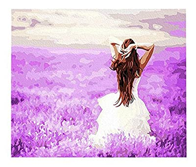[WOODEN FRAME]Diy Oil Painting Paint By Number Kit-The Happiness of the Purple 1620 inch by digital oil painting
