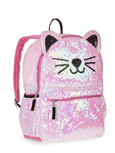 Kitty Cat Sequin Backpack for Girls -- Deluxe Kitten Backpack with 2 Way Sequins