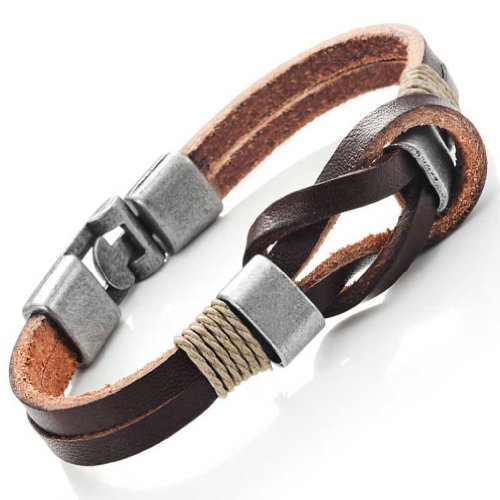Urban Jewelry Dark Brown Genuine Leather Nautical Knot Bracelet with Silver Secure Clasps for Him and Her, Unisex, 8""