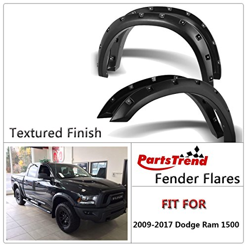 Factory Style 4PC Smooth Matte Black PP Truck Wheel Cover Protector IKON MOTORSPORTS Fender Flares Compatible With 2019-2020 Dodge Ram 1500