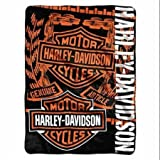 Harley-Davidson Gear Bar & Shield Raschel Throw Blanket, Black & Orange NW047129