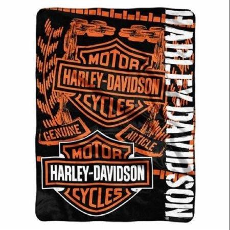 Harley-Davidson Gear Bar & Shield Raschel Throw Blanket, Black & Orange NW047129 by Northwest