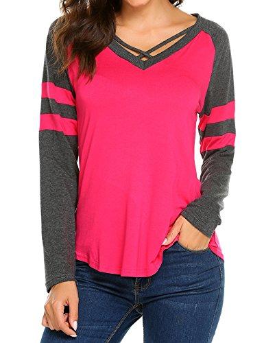 (Sweetnight Womens Casual Long Sleeve Criss Cross Raglan Striped T Shirt Blouse)