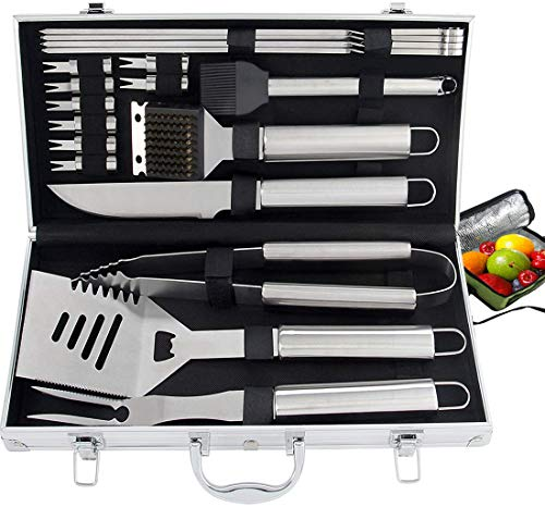 ROMANTICIST 20pc Heavy Duty BBQ Grill Tool Set with Cooler Bag - Great Grill Gift Set for Men Women on Birthday Wedding - Outdoor Camping Tailgating Barbecue Grill Accessories in Aluminum Case (Grilling Corn On The Cob On Gas Grill)