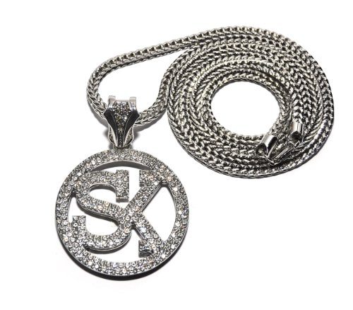 """New Iced Out 'SK' STREET KING Pendant &36"""" Franco Chain Hip Hop Necklace MP862R"""