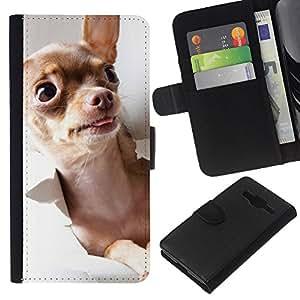 EJOY---La carpeta del tirón la caja de cuero de alta calidad de la PU Caso protector / Samsung Galaxy Core Prime / --Chihuahua Oro Brown Dog monedero Tiny