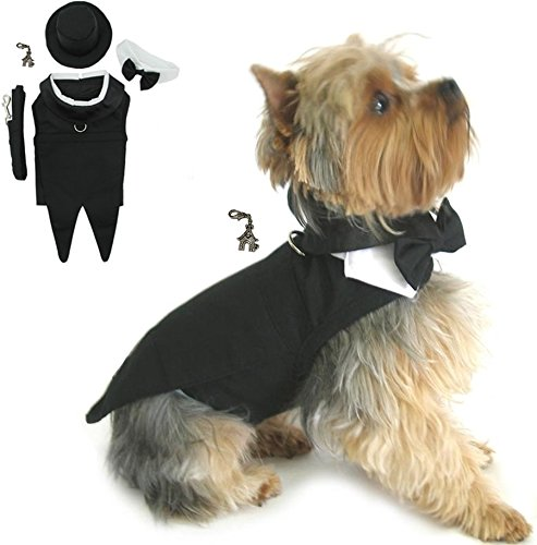 "(DOGGIE DESIGN Formal Wedding Tuxedo Harness Suit with Clip Charm – Hat and Leash - Black Tails – for Dog Size (L- Chest 19-21"", Neck 14-17"", Black Formal))"