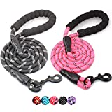 BAAPET 2 Packs 5 FT Strong Dog Leash with Comfortable Padded Handle and Highly Reflective Threads for Medium and Large Dogs (Black+Pink)