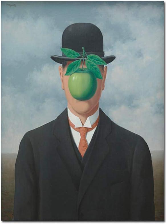 El hijo del hombre por René Magritte Pinturas en la pared Cuadros de lienzo para sala de estar Impresiones artísticas y carteles Decoración-50x80cm Sin marco