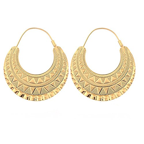 - 18K Gold Plated Hoop Earrings for Ethiopian Eritrean African Women Party Jewelry (Gold)
