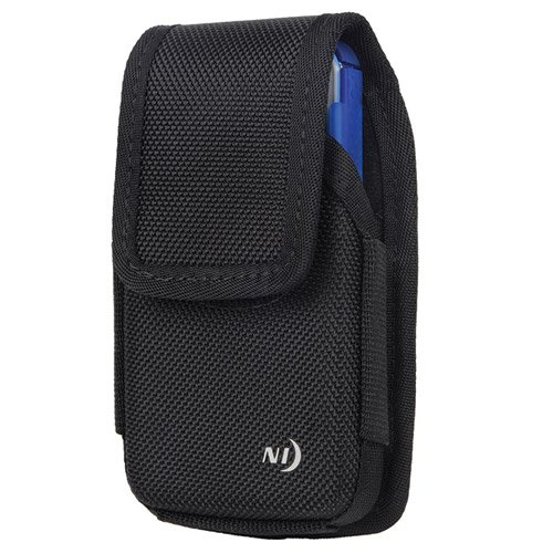 Nite Ize Hard Shell Vertical Heavy Duty Rugged X-large Black Holster Pouch extremely durable W/Fixed Belt Clip, Holding Identification, Cash And Credit Cards Absorbs Shocks Fits Htc 10 Cellphone