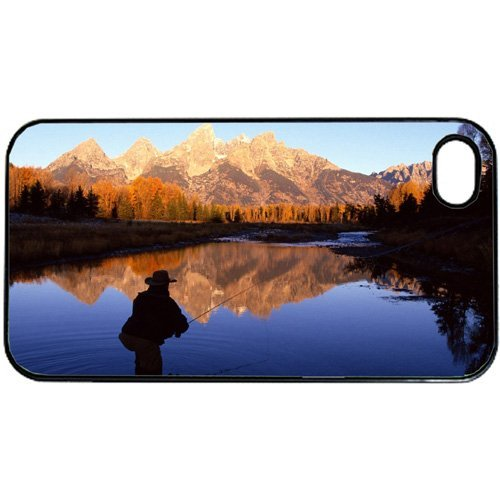 Fly Fishing Scenic Mountain Apple iPhone 5 or 5s RUBBER cell phone Case / Cover Great Gift Idea