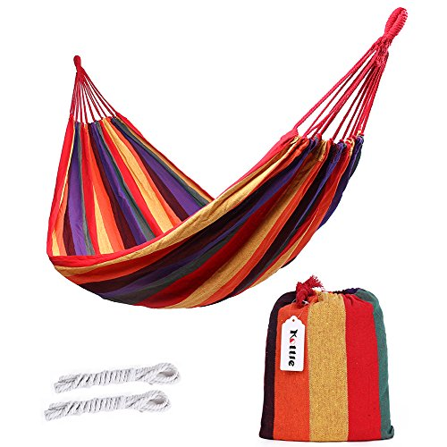 Kottle Outdoor Soft Cotton Fabric Brazilian Hammock Double Wide 2 Person Travel Camping Hammock Orange