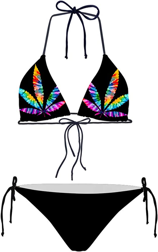 HUGS IDEA Tropical Triangle Bikini Swimsuit Tie Side Bottom Padded Top Bathing Suit