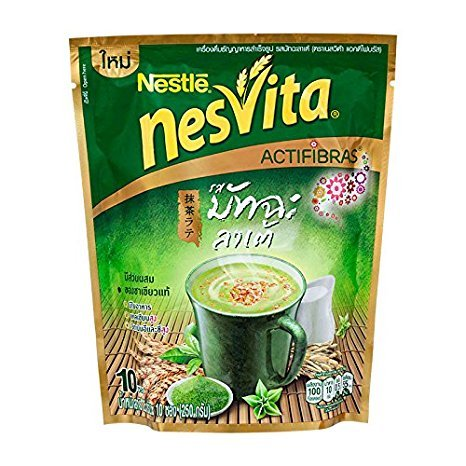 Nestle Nesvita Matcha Latte with Wholegrain Instant Breakfast Drink 250g (25g.x10 Sachets / Pack)