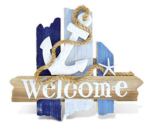 Puzzled Nautical Wooden Ocean Breeze Beach Theme Décor Real Natural Wood Handcrafted Hand Painted Atlantic Anchor Welcome Sign Home Accent Kitchen Bedroom Living Room Unique Gift Souvenir 11 Inch ()