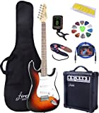 Full Size Sunburst Electric Guitar with Amp, Case and Accessories Pack Beginner Starter Package