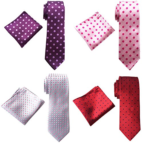 YanLen Men's Neckties Wide neck ties & Pocket Square 4 Set Wedding Party Long Tie (Style 03)