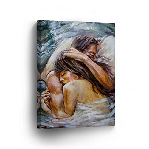 Lovers Couple Hugging in The Bed Naked Nude in White Sheets Sexy Oil Painting Canvas Print Decorative Art Wall Home Decor Artwork Gallery Wrapped Stretched/Ready to Hang-%100 Made in The USA- 12x8