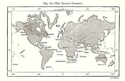Las colonias británicas. Imperio. Mundo. Mapa de boceto 1885 - Mapa antiguo -