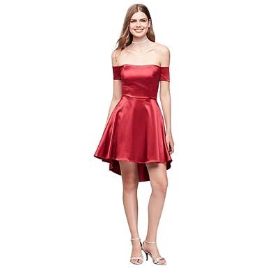 Davids Bridal Shoulder Stretch Satin High Low Prom Dress Style