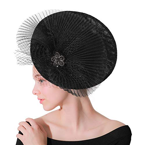 Party hat for wedding girls and women Flower Feather Hat For Women Gatsby Prom Cocktail Wedding Tea Party Themed Party Derby hat clip and hair band female ( Color : Black , Size : Free size )]()
