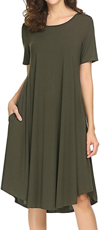 Locryz Women's Short Sleeve Pocket Swing Dress Casual Loose T-Shirt Dress