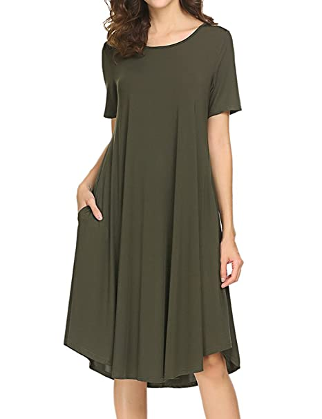 91f6900299ee Image Unavailable. Image not available for. Color: Locryz Womens Summer  Comfy Swing Tunic Short Sleeve Pocket Solid Midi T Shirt Dress Army Green