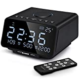 Digital Alarm Clock Radio, 5.5 Inch Large LED Display with Dimmer, Dual Alarm, Snooze, Sleep Timer,Dual USB Port for Charging, Battery Backup, Indoor Temperature, TF-Card, AUX-in for Bedrooms (Black)
