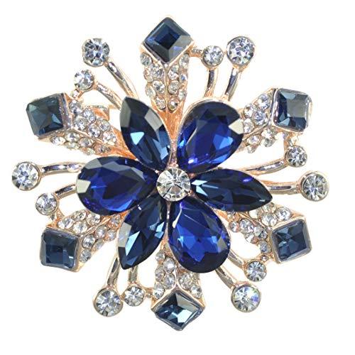 Gyn&Joy Women's Winter Austrian Crystal Blue Snowflake Wedding Bridesmaid Bridal Flower Brooch Pin BZ202