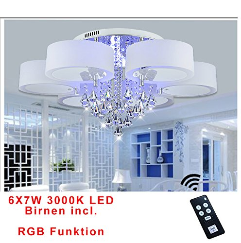 Style home® 42W RGB Kristal LED Deckenlampe Deckenleuchte 6103 6 Flammig Warmweiss mit Fernbedienung incl. Leuchtmittel