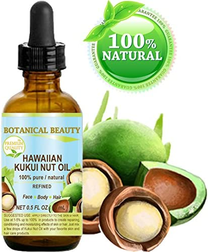 Kukui oil Aceite de transporte prensado en frío 100% puro/refinado hawaiano para el cuidado de la piel, el cabello, los labios y las uñas. 0.5 Fl.oz.- 15 ml. Botanical Beauty: Amazon.es: Belleza