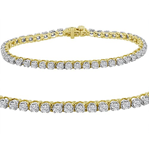 AGS Certified 3ct tw Diamond Tennis Bracelet in 10K Yellow Gold