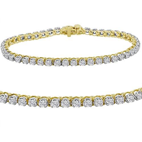 AGS Certified 3ct tw Diamond Tennis Bracelet in 10K Yellow Gold
