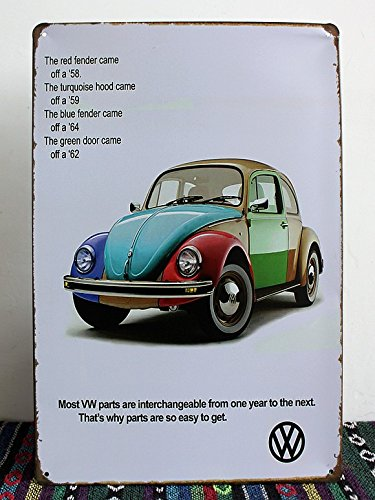 Color of the Volkswagen Beetle, Metal Tin Sign, Vintage Wall Ornament Decor, Size 8