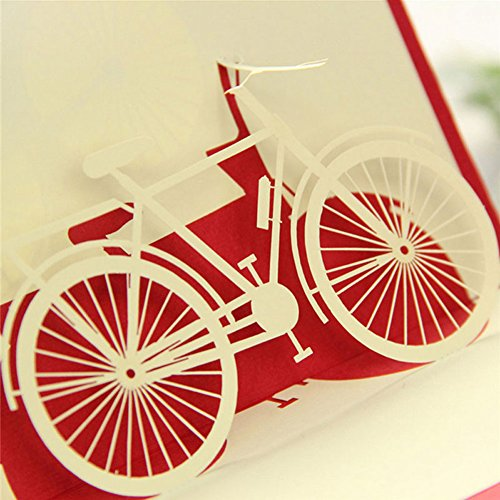 Amrka 3D Pop Up Greeting Card Bicycle Travel Happy Birthday Valentine Easter Anniversary Gift ()