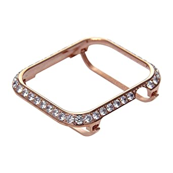 Amazon Com Hemobllo Jewelry Watch Frame For Apple Watch Protector Case Crystal Diamonds Frame Watch Cover For Apple Iwatch Series 4 Shell 44mm Rose Gold Industrial Scientific