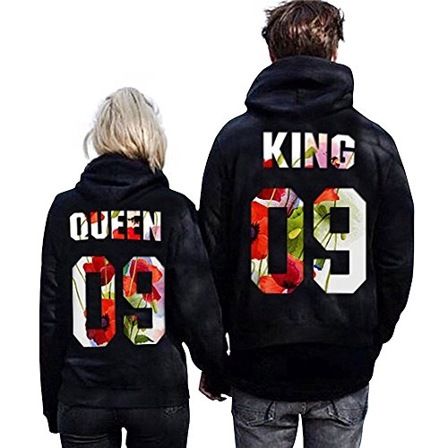 Nailyhome Women's Fashion KING/QUEEN 09 Lovers Pullover Couple Hoodies - Street Queen Shopping On
